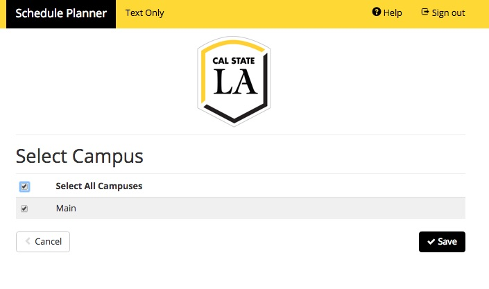 Screenshot of Schedule Planner showing checkboxes for Select Campus and showing Campus as Main