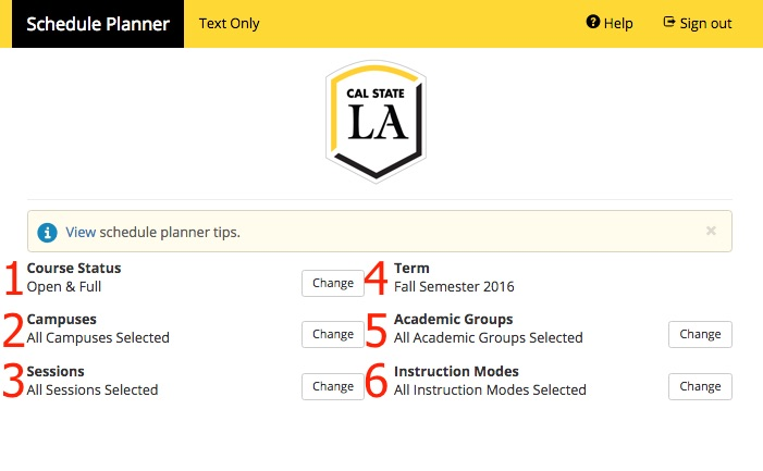 Screenshot of Schedule Planner showing Options which include Course Status, Campuses, Sessions, Term, Academic Groups, and Instruction Modes