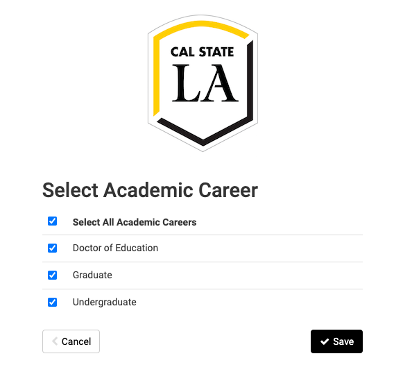 Screenshot of Schedule Planner with header Select Career.  Options are Undergraduate, Graduate, Doctor of Education.
