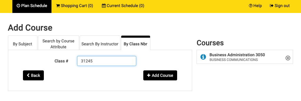 Screenshot of Schedule Planner > Search by Class Number