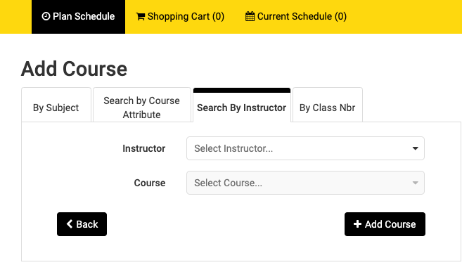 Screenshot of Schedule Planner > Search by Instructor