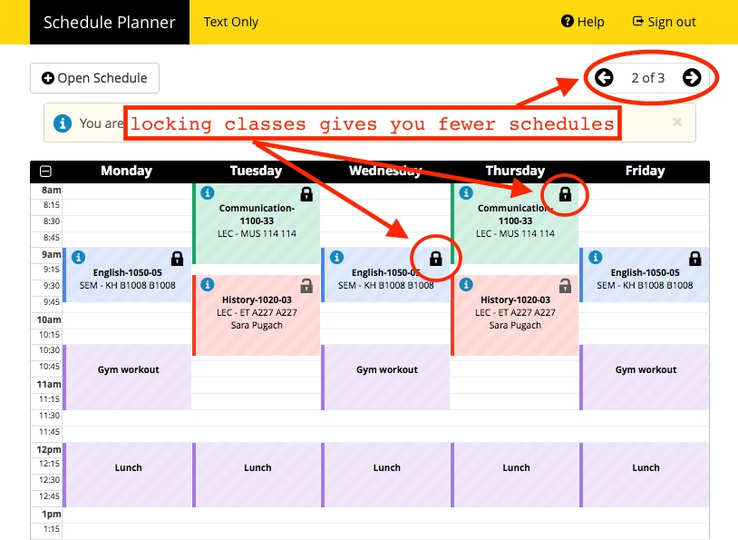 Screenshot of Schedule Planner > Sample Schedule (lock icons highlighted).  This is also the calendar view of your schedule, with LOCK icons highlighted