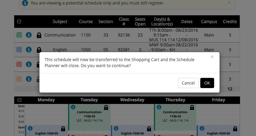 Screenshot of Schedule Planner > Schedule (Send to Cart dialog window).  This shows the popup window that lets you transfer the Shopping Cart back to GET