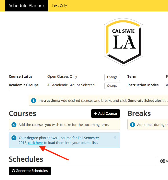 Screenshot of Schedule Planner - Degree Planner link