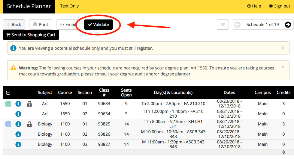 Screenshot of Schedule Planner - Validate Schedule button highlighted