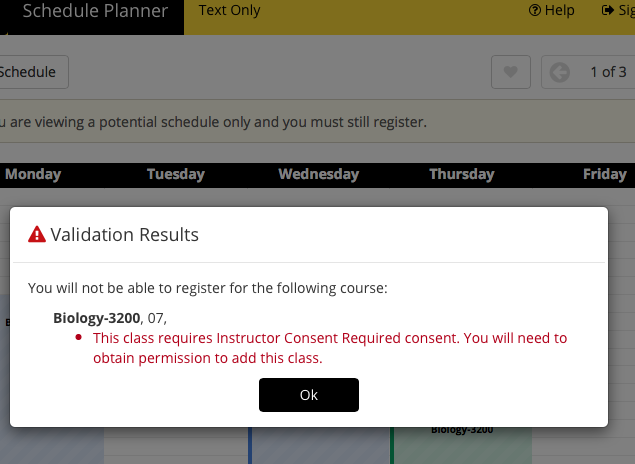 Screenshot of Schedule Planner - Unsuccessful Validate Schedule - requires instructor consent