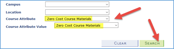 Screenshot of Course Attribute and Course Attribute Value with Zero Cost Course Materials values highlighted