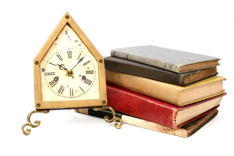 clock and books