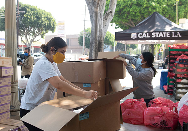 Volunteer with boxes at food distribution