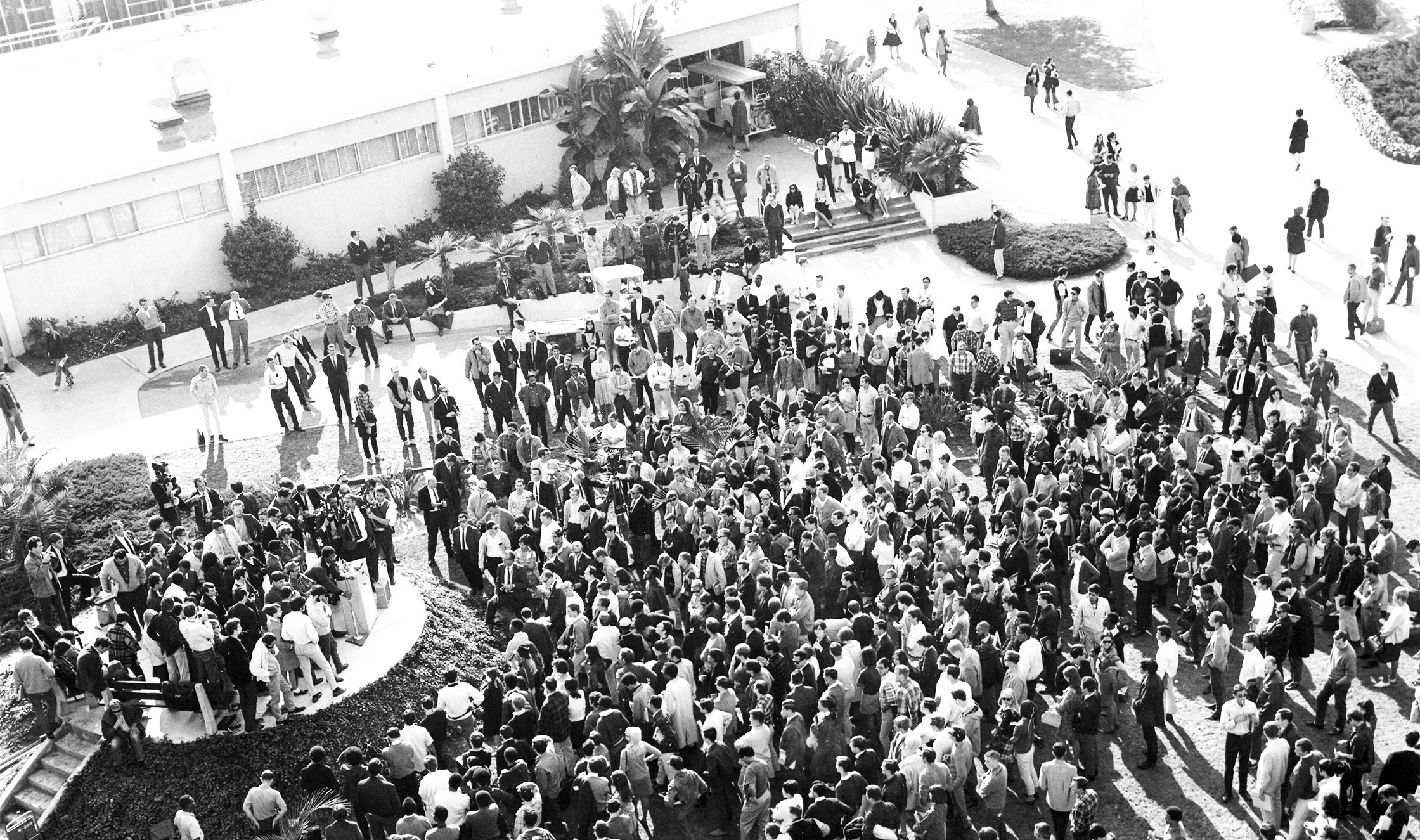 The Free Speech area  on the Cal State LA campus in 1968.