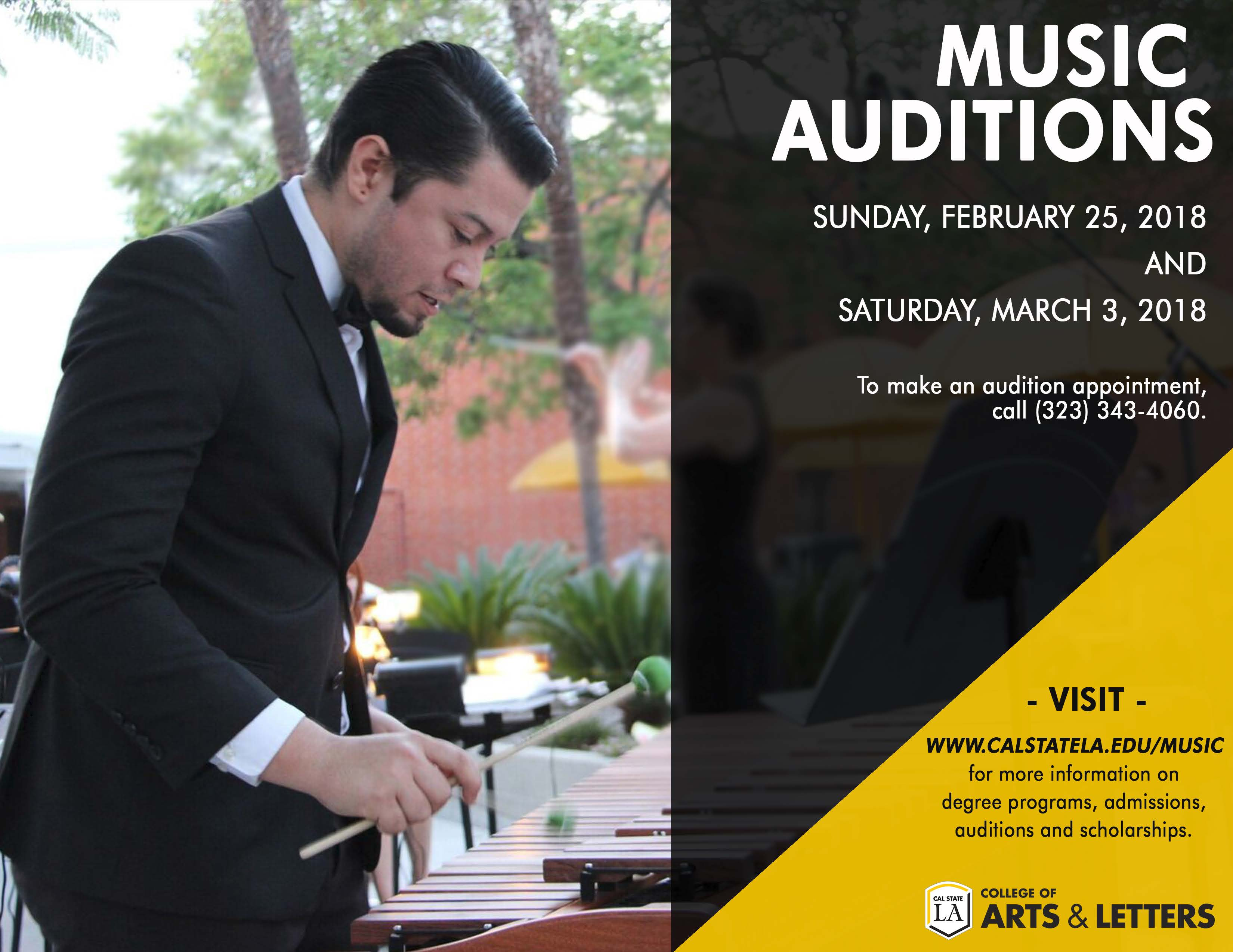 Music Auditions for Fall 2018: February 25 and March 3