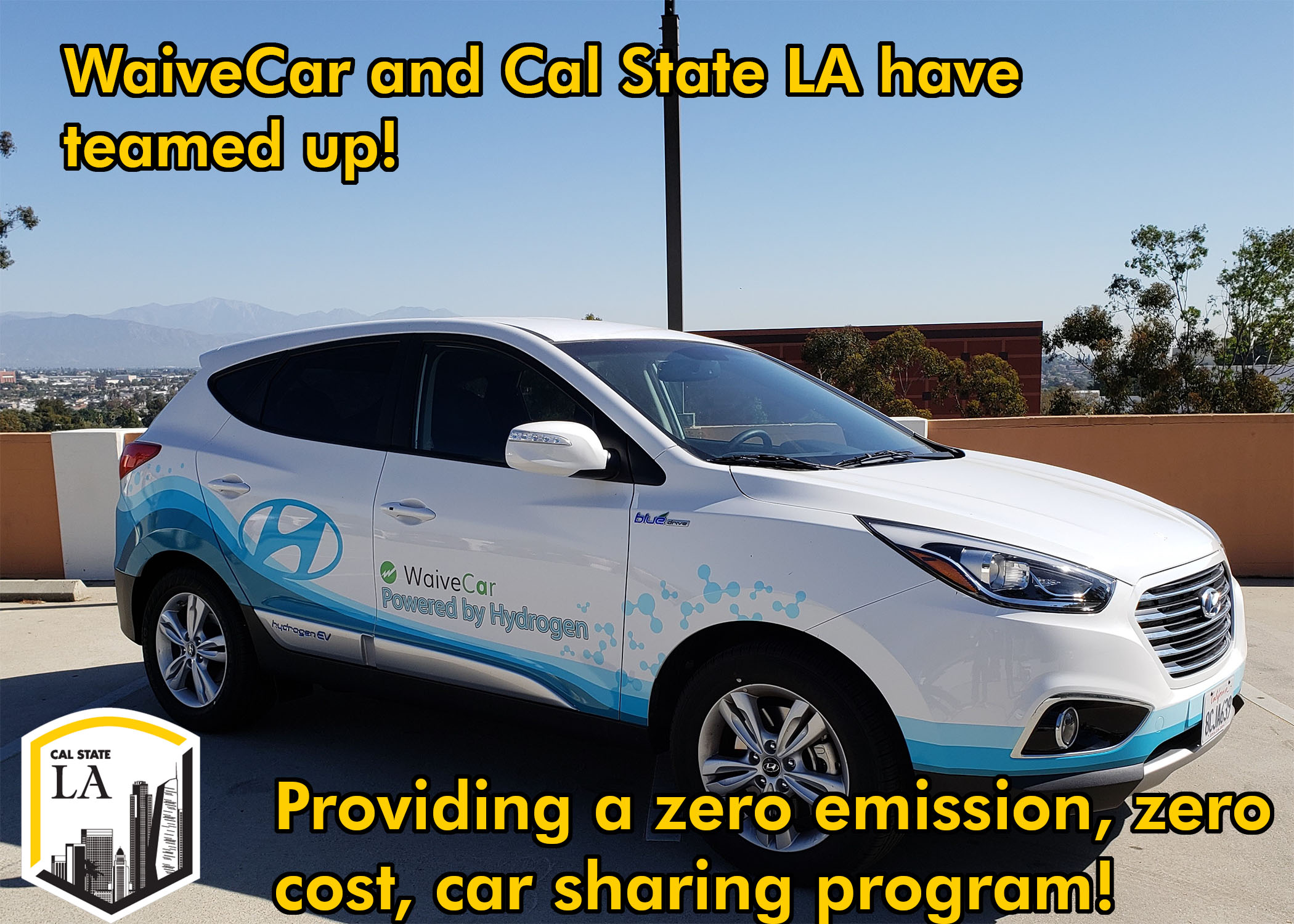 WaiveCar and Cal State LA Have Teamed Up! Providing zero emission, zero cost car-sharing program