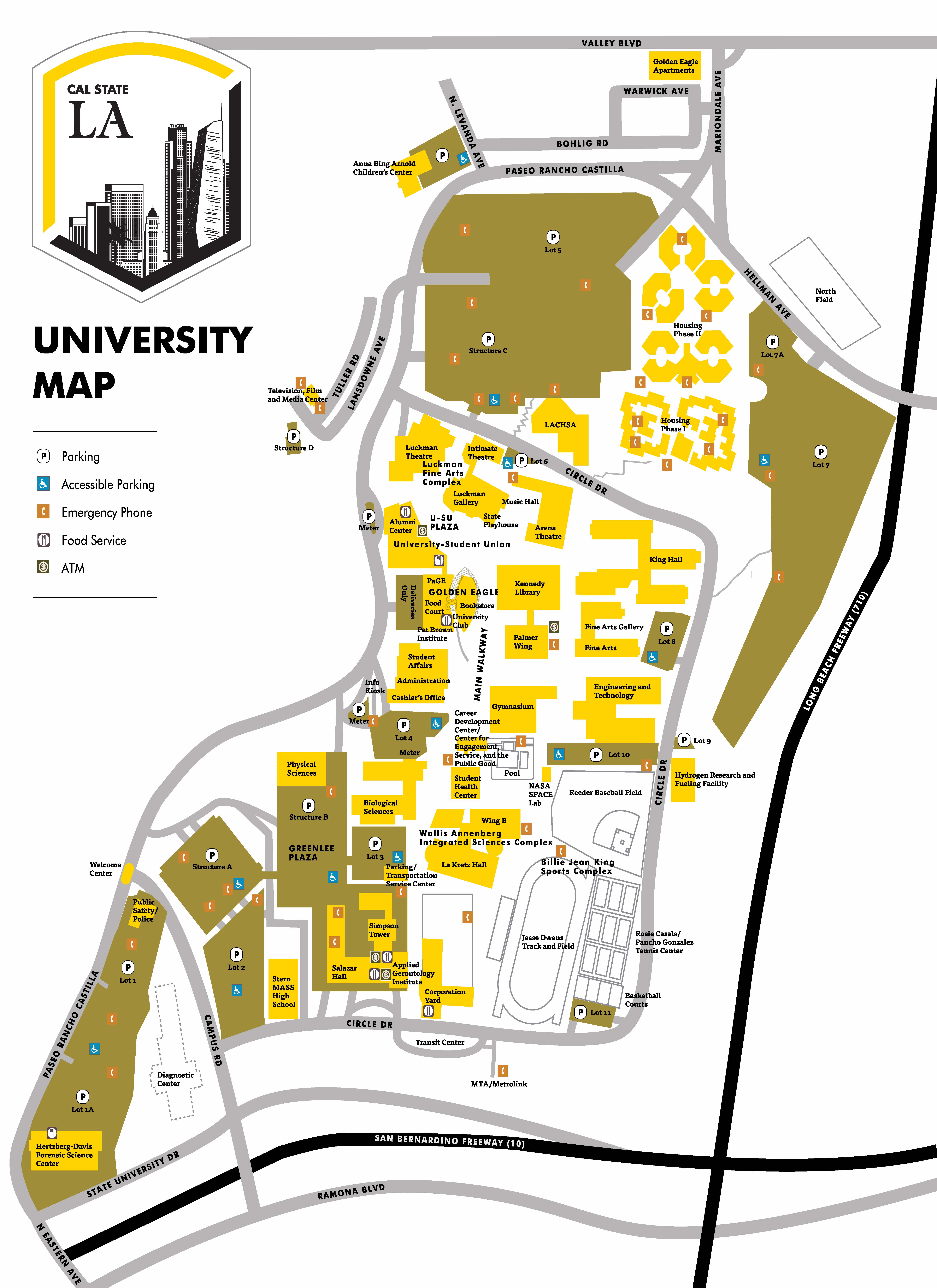 Preview Day California State University Los Angeles - Cal map