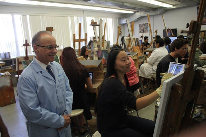 President Covino's Visit to the Painting Studio
