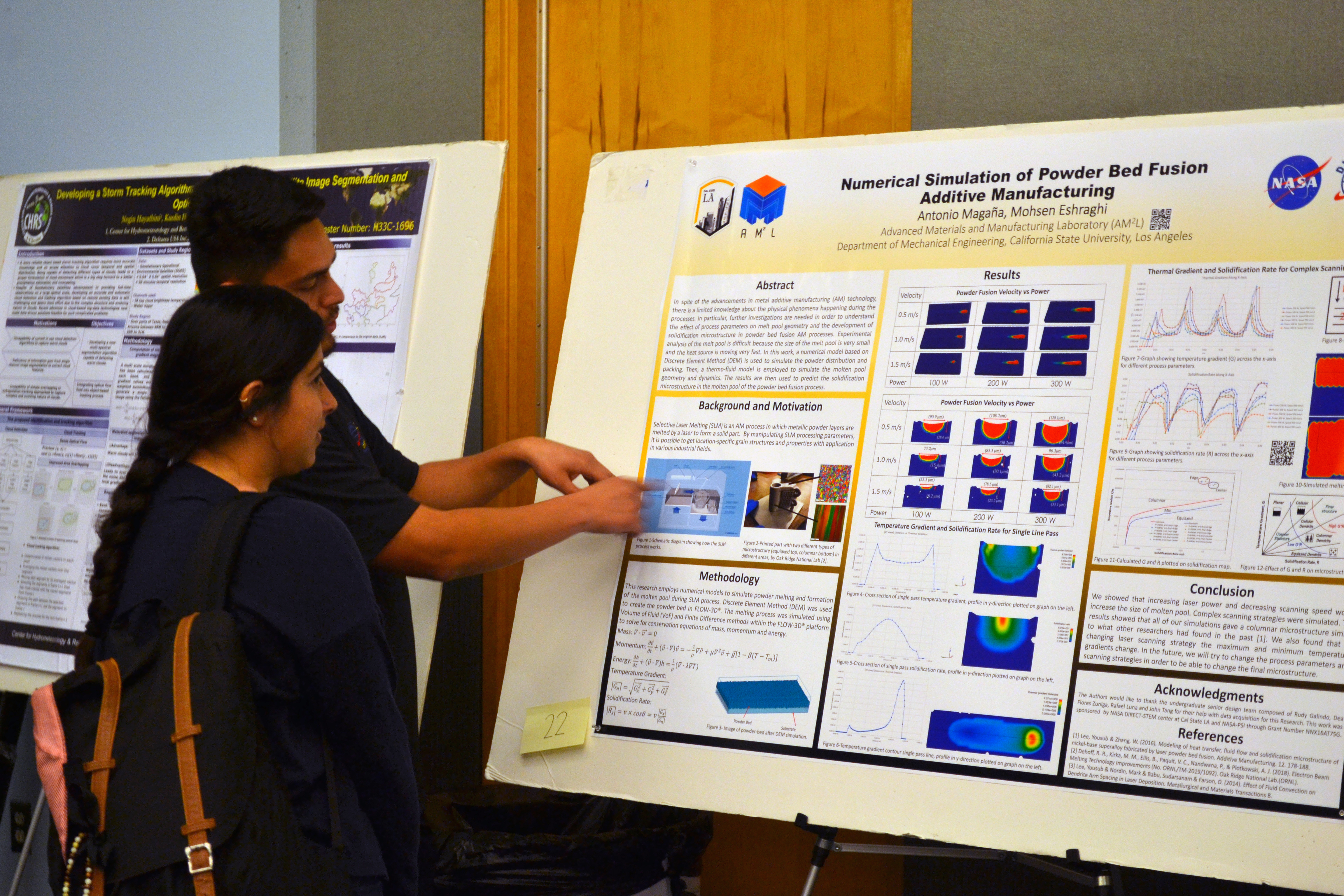 Antonio Magana explaining his research poster at the 4th Annual NASA DIRECT-STEM Research Symposium