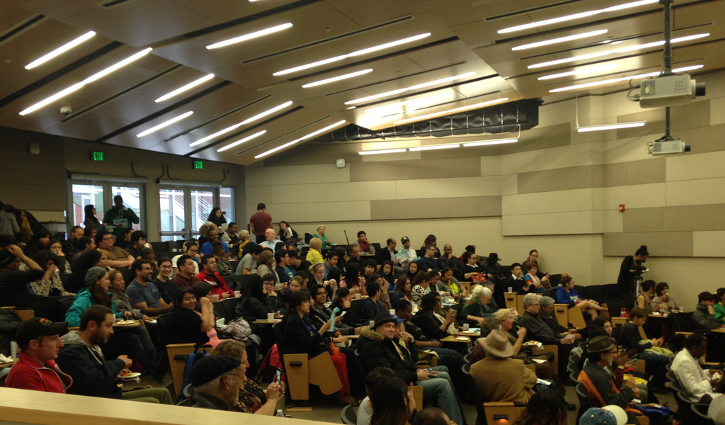 A large audience gathers for the 2015 Jean Burden Poetry Series