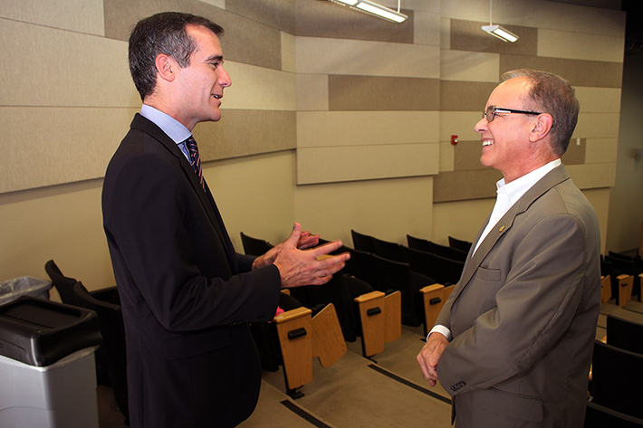 Los Angeles Mayor Eric Garcetti and Cal State L.A. President William A. Covino discuss the Civic University.