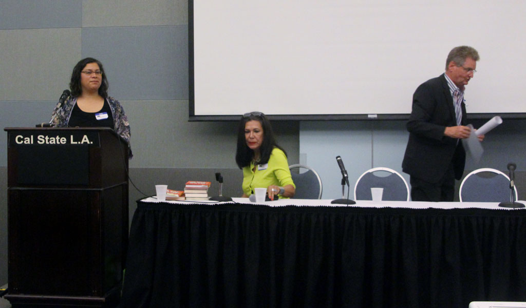 Linda Greenberg facilitates discussion with Ana Castillo at the 2014 Conference on Rudolfo Anaya
