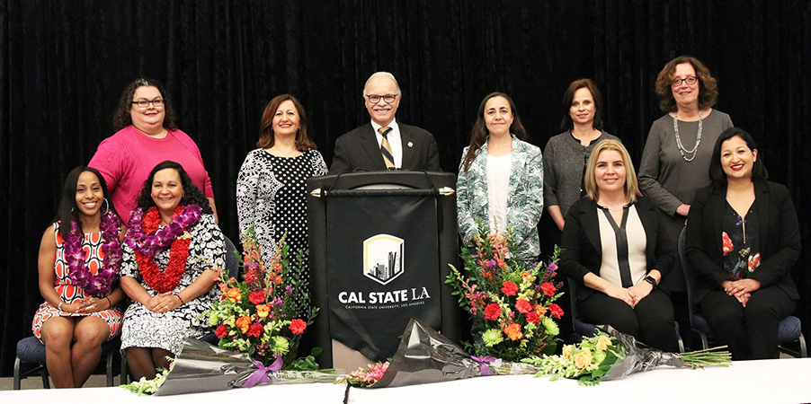 Cal State LA Distinguished Women Awardees and President Covino