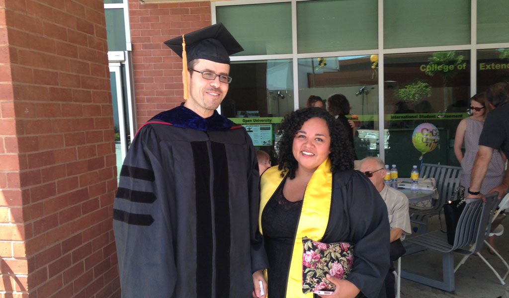 Professor Laouyene with graduate Sonia Cruz-Magana