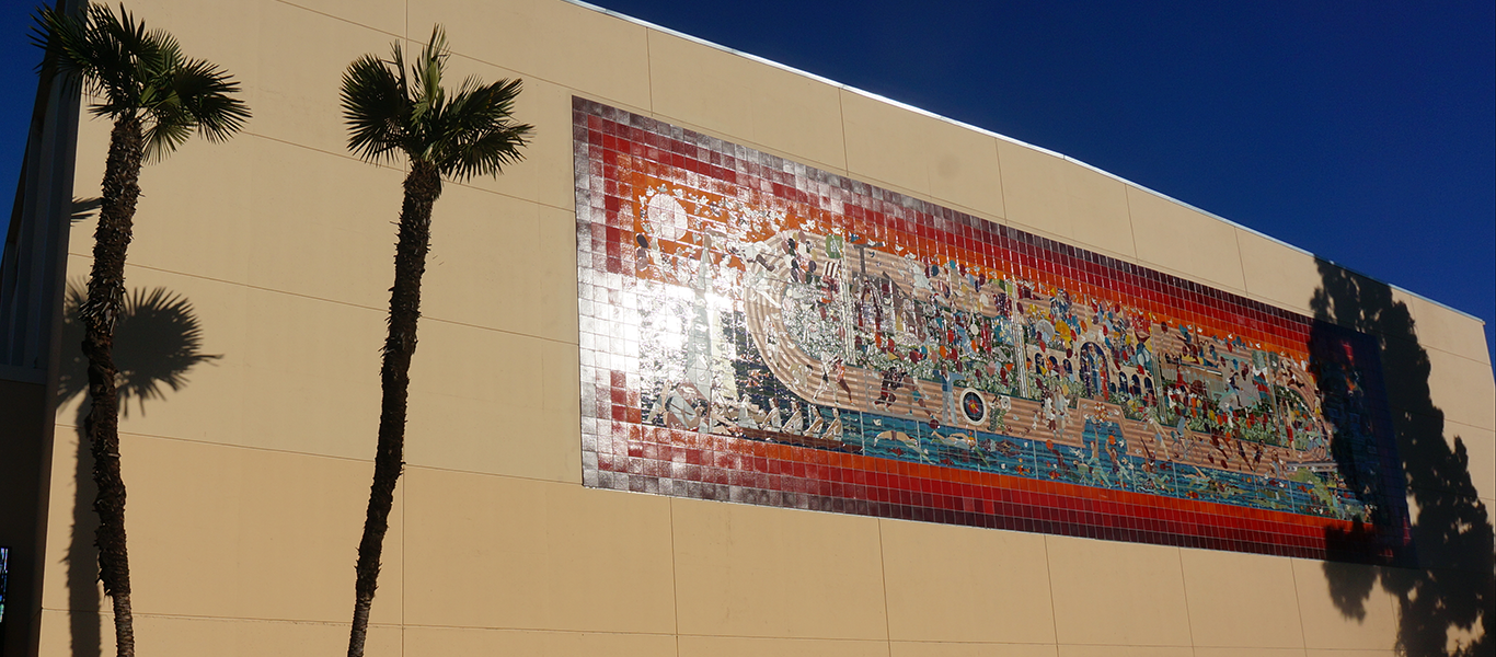 Photo of 1984 Olympic Mosaic on Exterior of Gymnasium