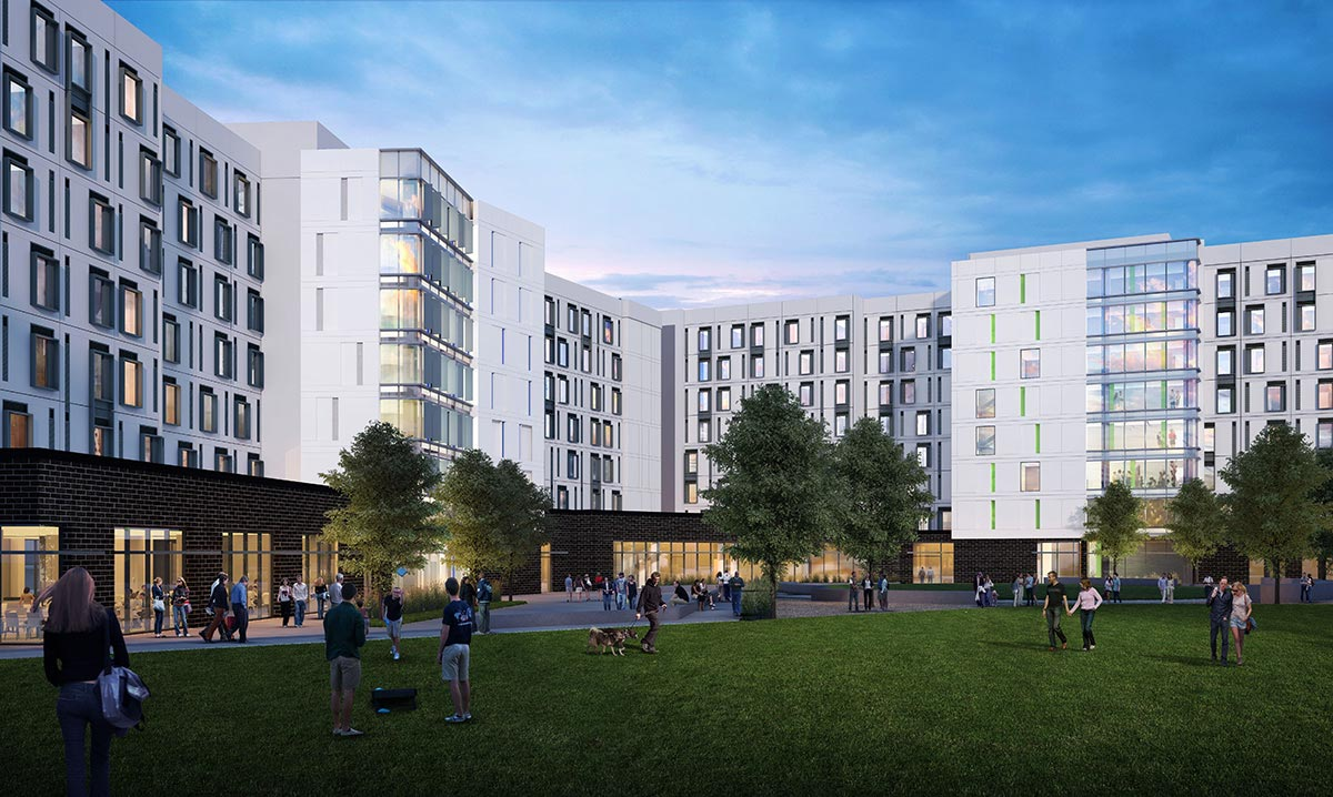 Rendering of new student housing facility, showing outdoor court yard