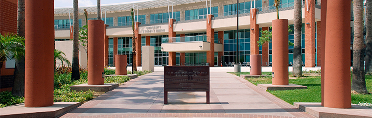 Cal  State L.A. photo of Luckman Complex walkway to University Student Union
