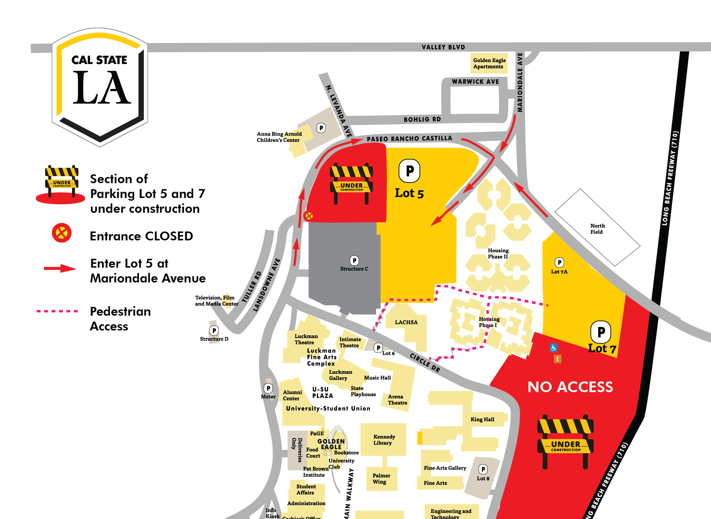 Map of construction in Lot 5 and 7