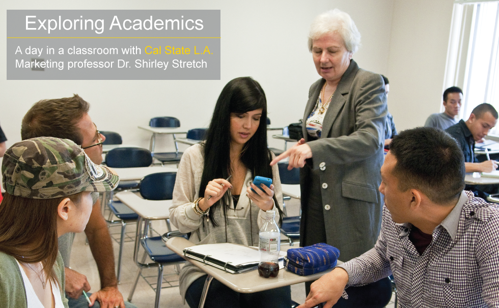 Cal State L A Marketing professor doctor Shirley stretch teaching class