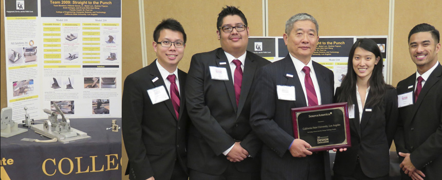 Dr. Paul Liu and the Cal State L.A student team taking 1st place in the SourceAmerica Design Challenge
