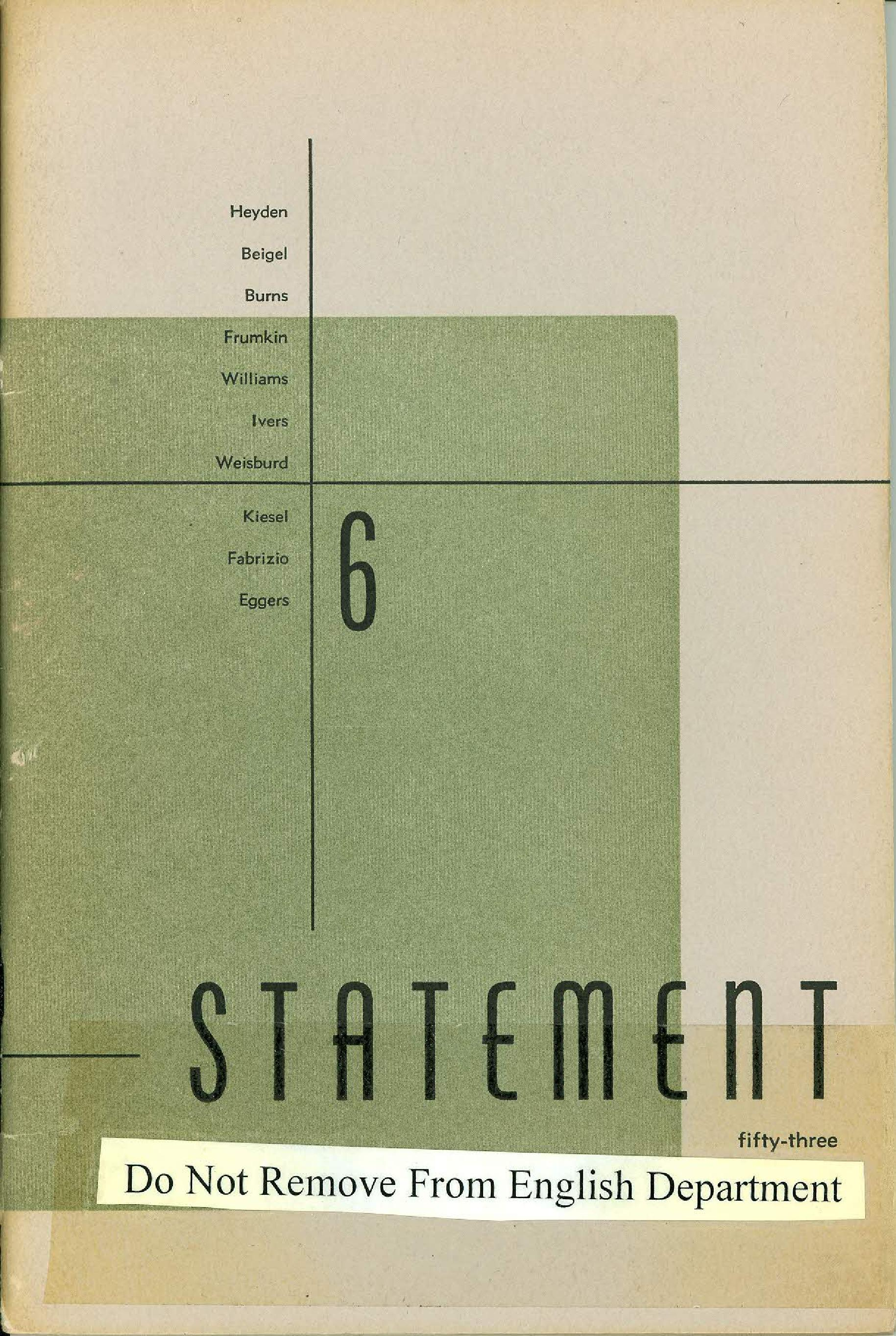 Statement Magazine Fall 1953 Front Cover