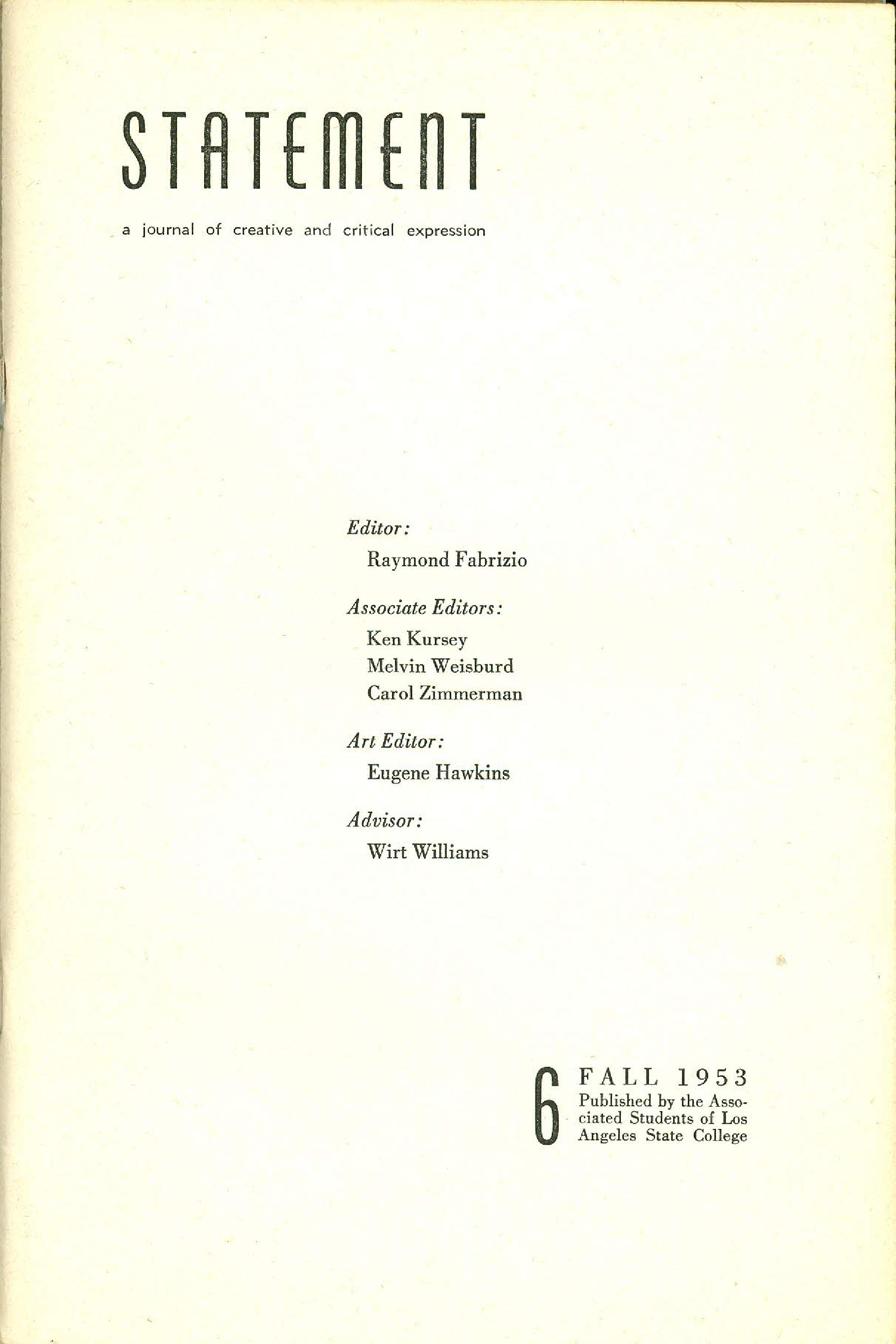 Statement Magazine Fall 1953 Staff