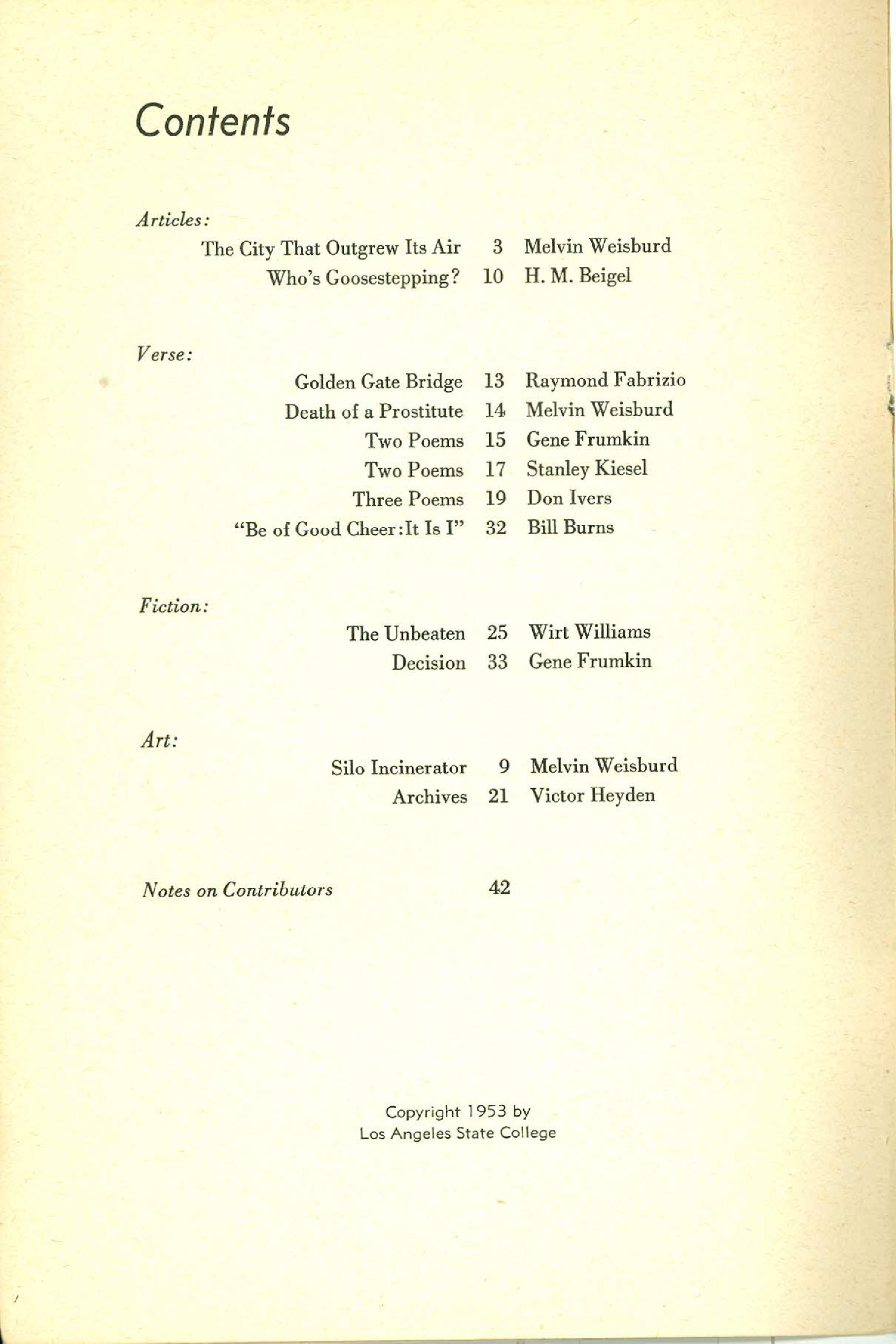 Statement Magazine Fall 1953 Table of Contents