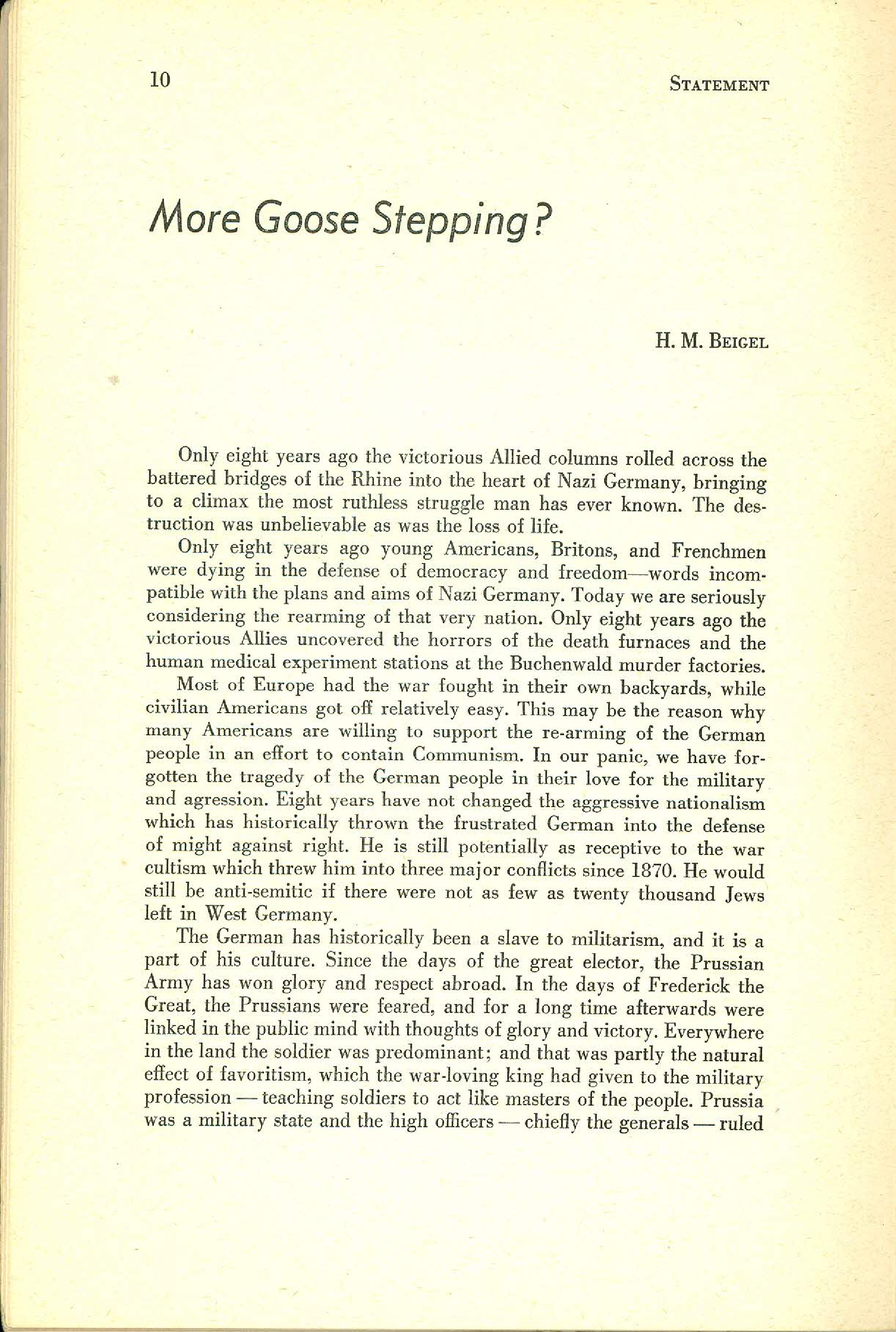 Statement Magazine Fall 1953 Page 08