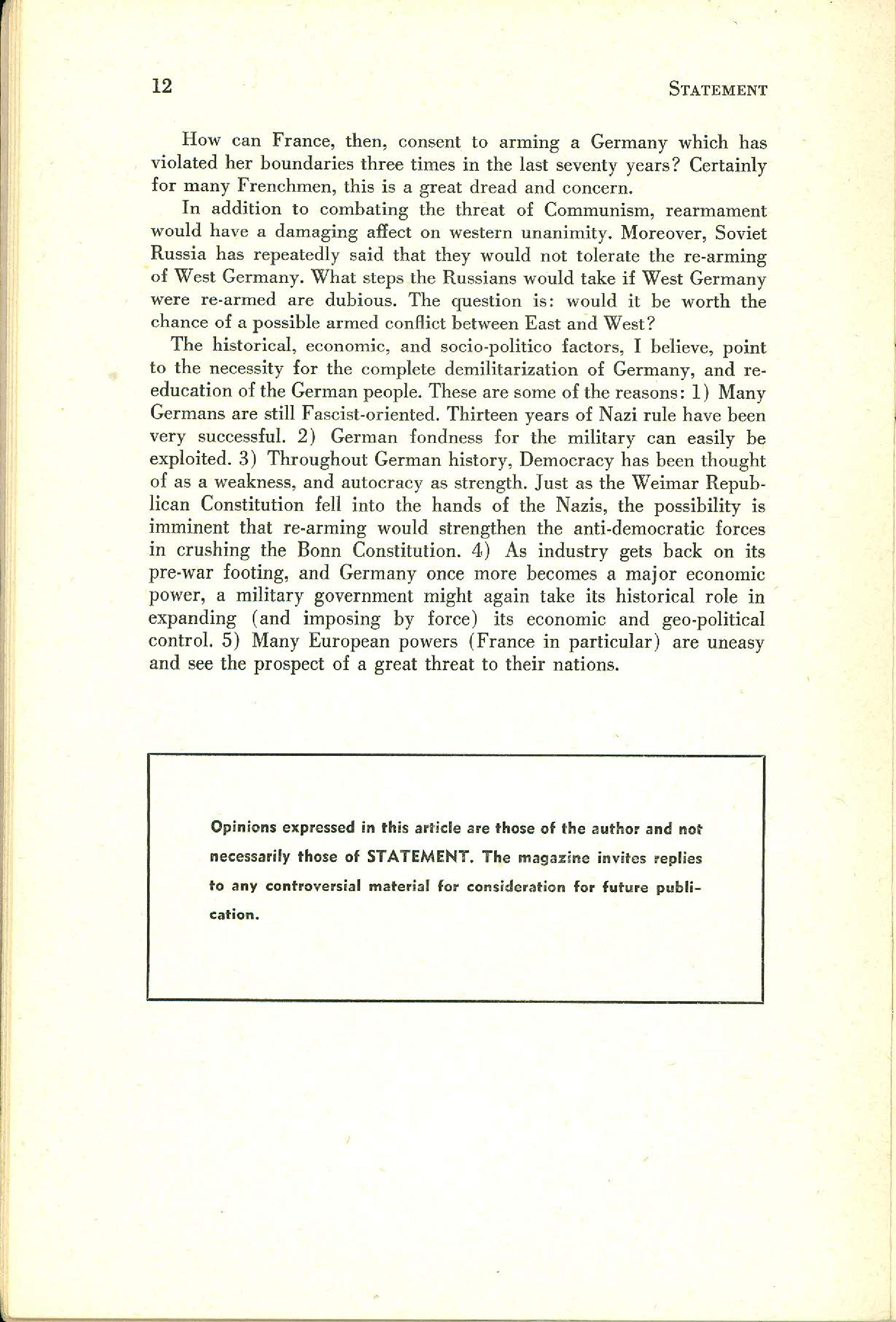 Statement Magazine Fall 1953 Page 10