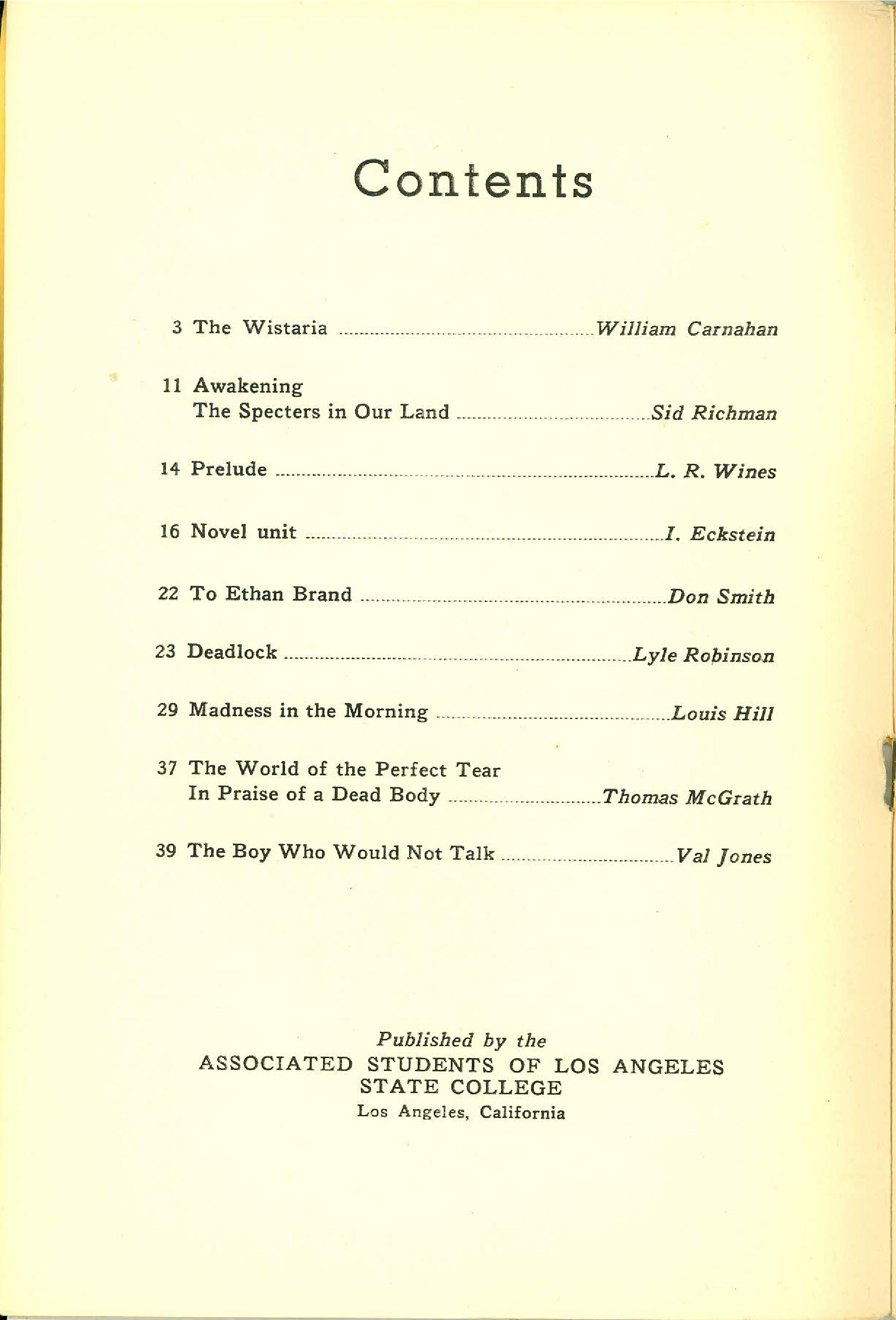 Statement Magazine 1950 Table of Contents