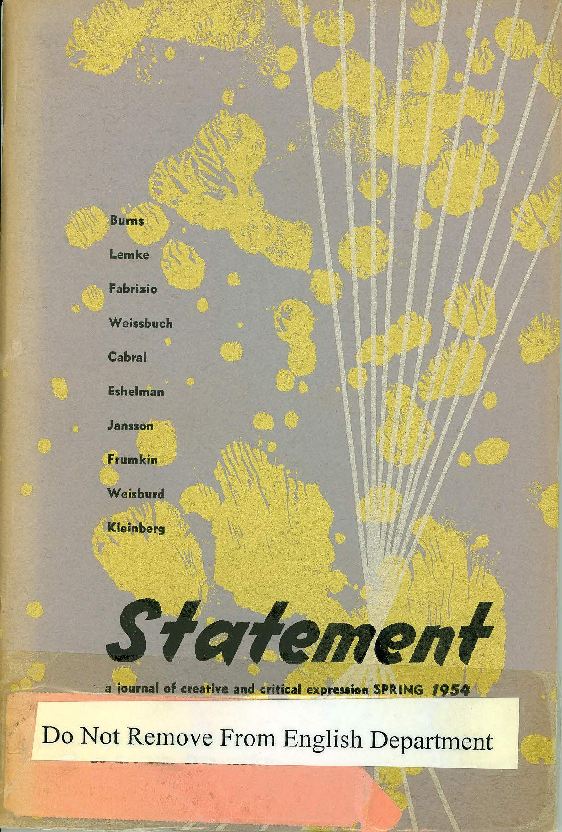 Statement Magazine Spring 1954 Front Cover
