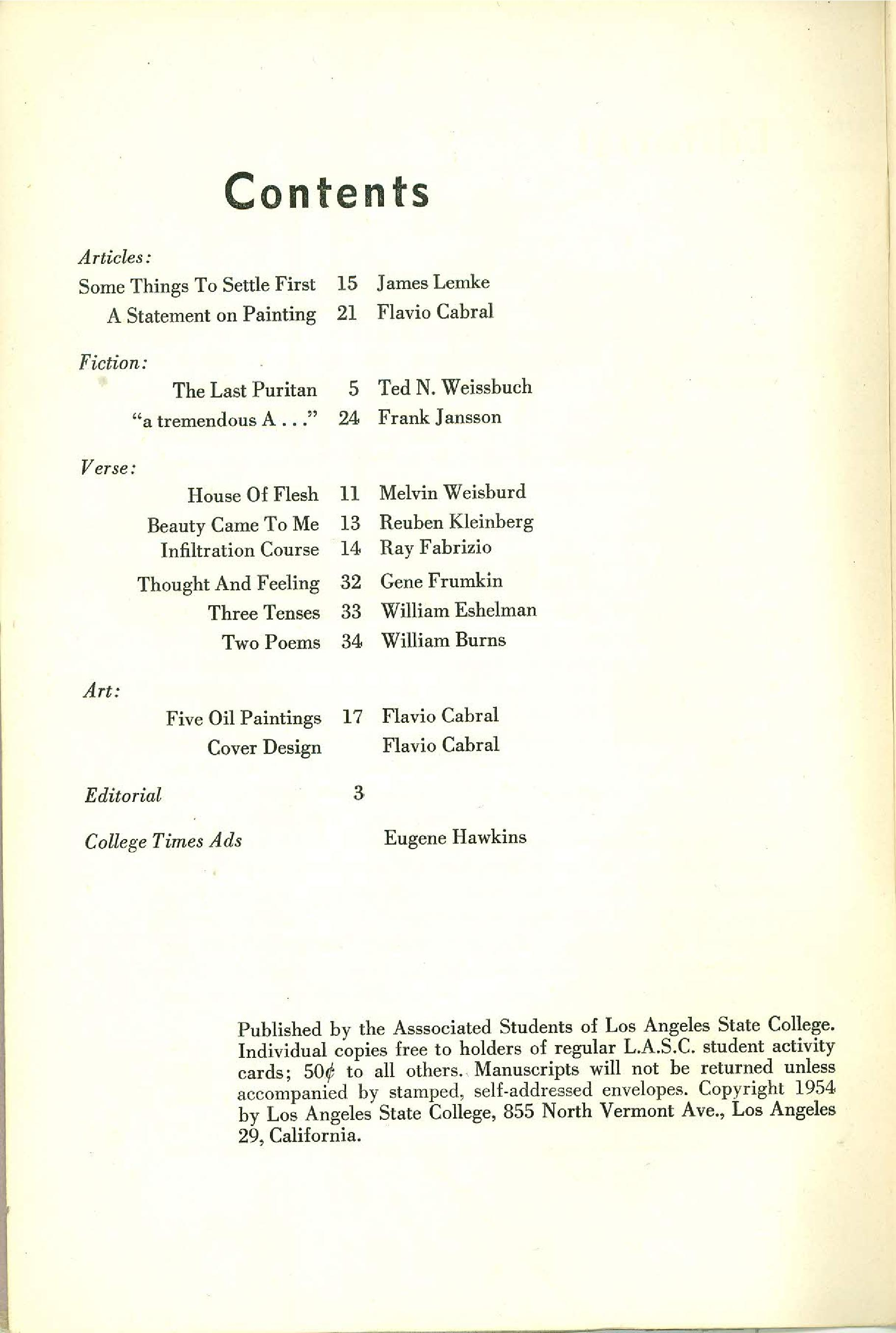 Statement Magazine Spring 1954 Table of Contents