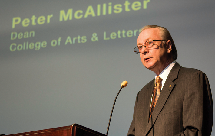Dean Peter McAllister of the College of Arts and Letters speaks at the grand opening in March.