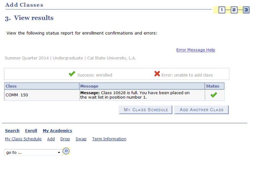 Enrollment confirmation or errors display