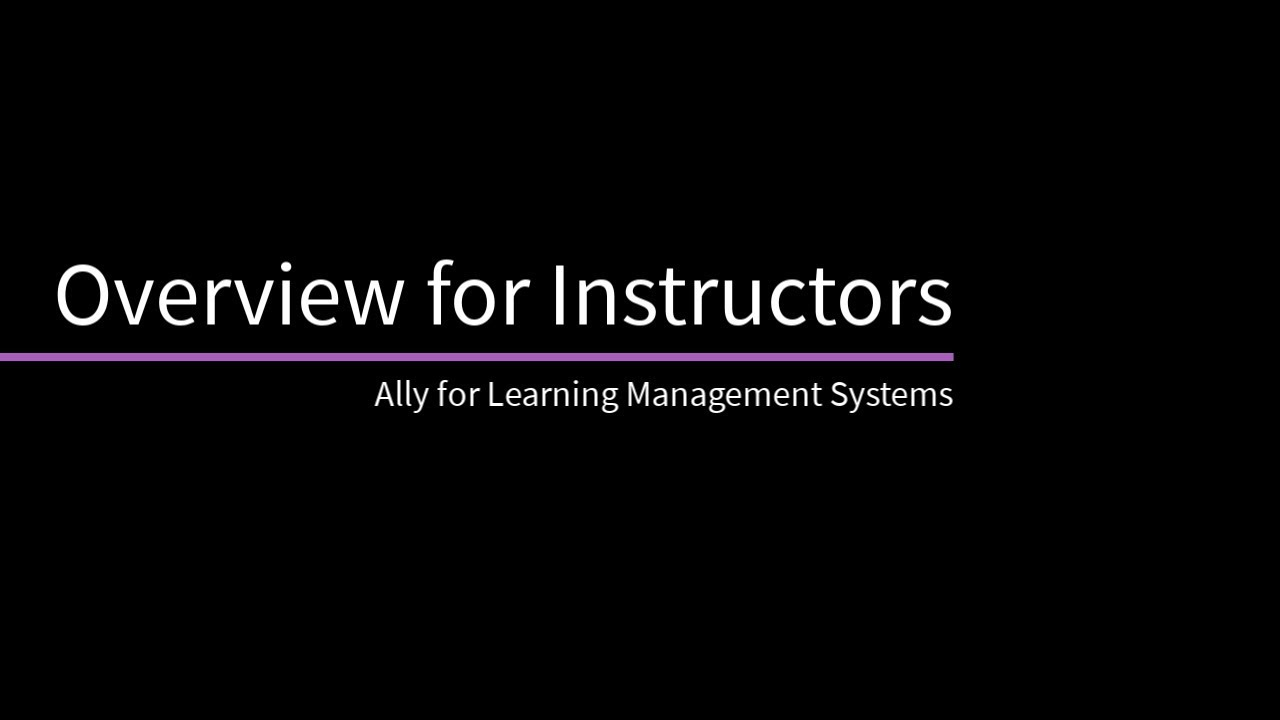 Ally quick start video on YouTube