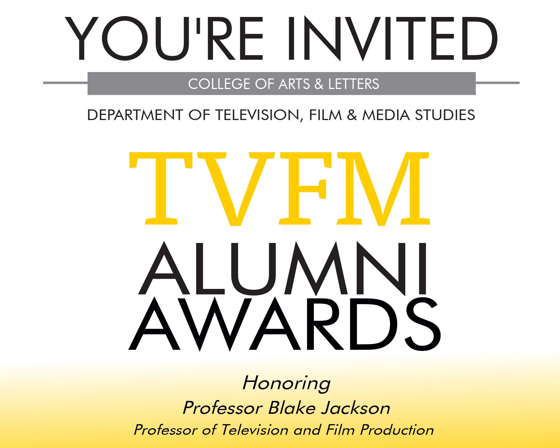 You're Invited to the TVFM Alumni Awards