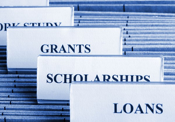 files labelled grants, scholarships and loans