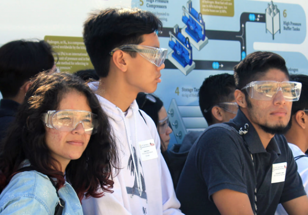 students wear safety goggles as they tour h2 station