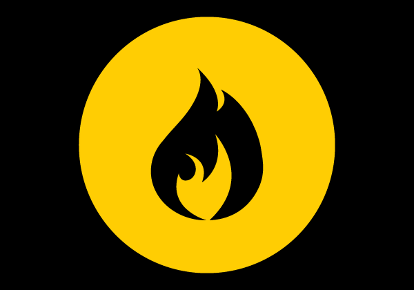 flame illustration in yellow circle black back