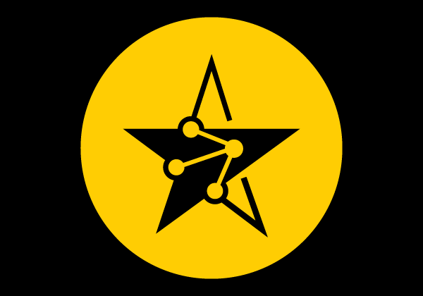 star and atom joined illustration in yellow circle black back