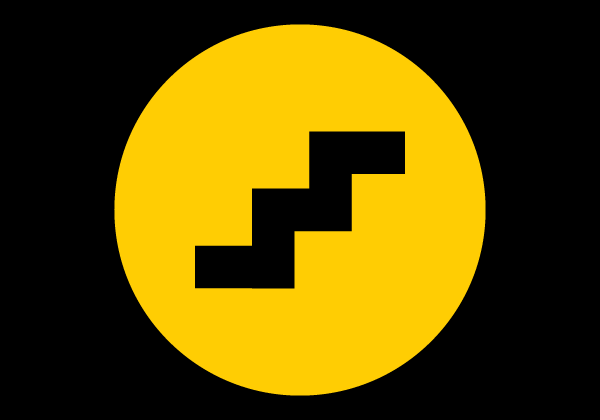 staircase illustration in yellow circle black back