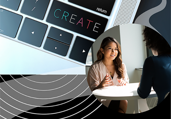 "Photo collage: person being interviewed and a keyboard with a focus on a key that reads, ""create' and a path that runs diagonal."