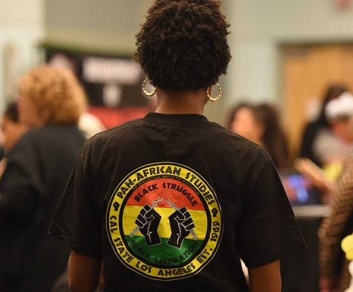 Student wearing Pan African Studies shirt