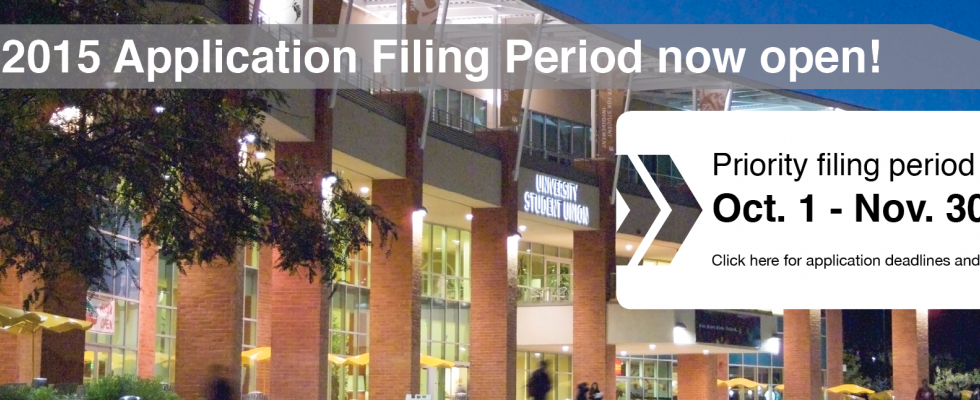 Fall 2015 Application Filing Period now open!